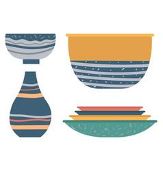Plate and bowl rustic jug tableware set vector
