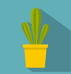 Potted cactus icon flat style vector