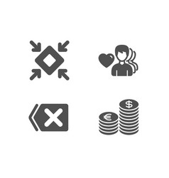 remove minimize and man love icons currency sign vector image