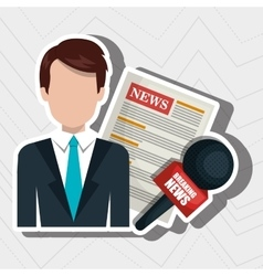 reporter avatar with newspaper isolated icon vector image