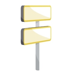 Road sign on pole icon cartoon style vector
