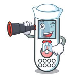 Sailor with binocular remote control mascot vector