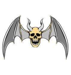 scary dead skull with long horns vector image