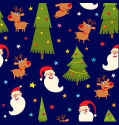 Seamless pattern with reindeers and santa vector