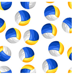 Seamless pattern with volleyball balls in flat vector