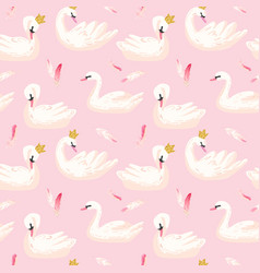 seamless pattern with white swans baby background vector image