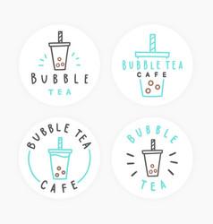 set bubble tea badges vector image
