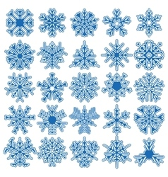 Set of 25 snowflakes vector image