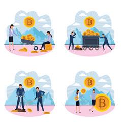 Set of digital mining bitcoin women and men vector