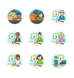 Set of multicolor services icons vector