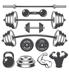Set of vintage fitness designed elements vector