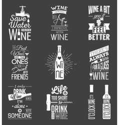 Set of vintage wine typographic quotes grunge vector