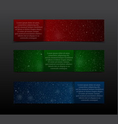 Set Red Green Blue RGB Banners New Year Christmas vector