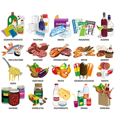 Set sixty four supermarket icons include vector