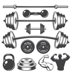 set vintage fitness designed elements vector image