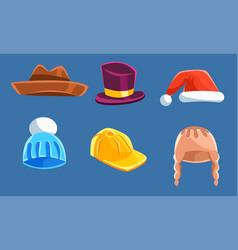 set with different kind hats and headwears vector image