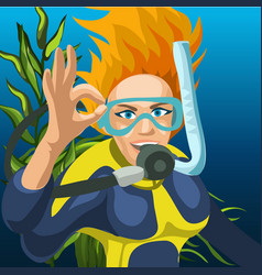Sketch a poster a happy woman diver raising vector