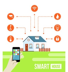 Smart house concept with signs vector
