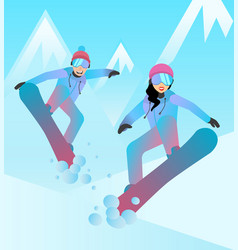 Snowboarders man and woman vector