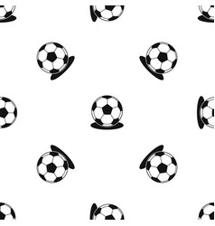 soccer ball pattern seamless black vector image