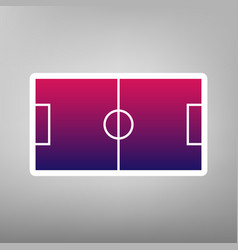 soccer field purple gradient icon on vector image