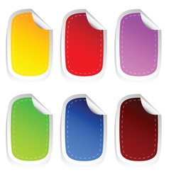 Sticker in six color set two vector