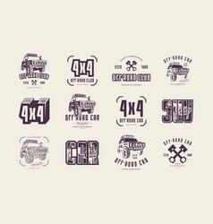 stock set off-road club emblems vector image