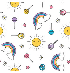 Summer lollipop pastel rainbow sun seamless vector
