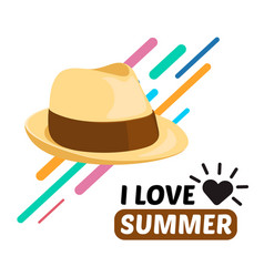 Summer men hat and text vector
