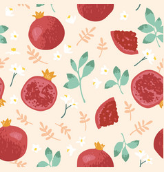 summer pattern with pomegranates flowers and vector image