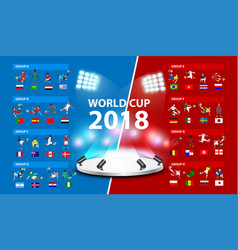 table 2018 soccer world tournament in russia vector image