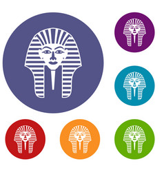 Tutankhamen mask icons set vector