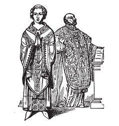 Two priests wearing the garment vintage engraving vector