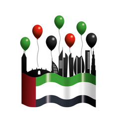 Uae with flag and balloons to patriotic day vector