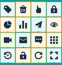 user icons set with chart badge lock and other vector image