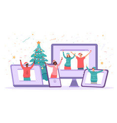 virtual christmas party happy people safely vector image