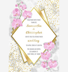wedding glamorous inviration with orchids vector image