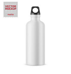 White metal water bottle template vector