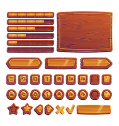 wooden and gold buttons for ui game gui elements vector image