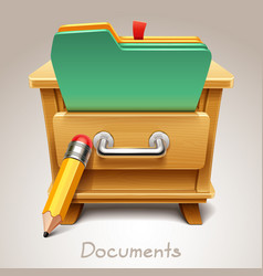 Wooden drawer for documents icon vector