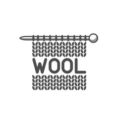 Wool emblem with knitted fabric and needle label vector