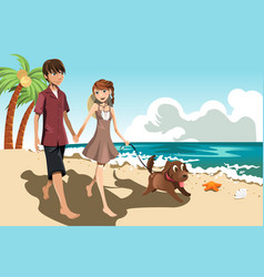 Young couple on the beach vector