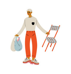 Young man standing with shopping bags and chair vector