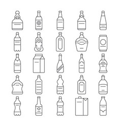 alcohol drink bottles and beverage line vector image vector image