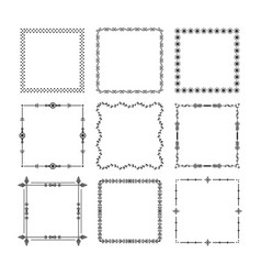 black christmas square frames emblem icons set vector image