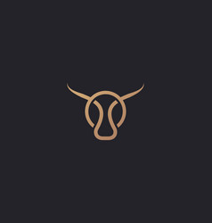 bull taurus logo linear cow steak creative vector image