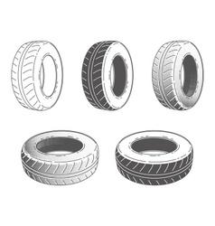 Car tire rubber wheel set vector image