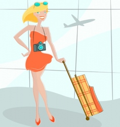girl waiting at airport vector image vector image