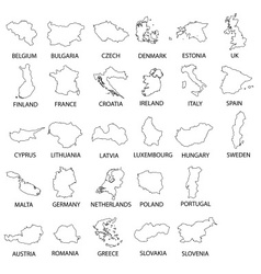 simple black outline maps all european union vector image