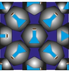 The pattern of flasks in hexagons which represent vector image vector image